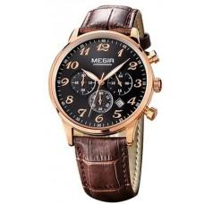 Megir Chronograph Men's Black Dial Leather Band Watch - M2022-BRBK