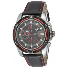 Megir Men's Black Chronograph Dial Leather Band Watch - M2023