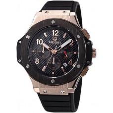 Megir Luxury Chronograph Men's Black Dial Rubber Band Watch - M3002G