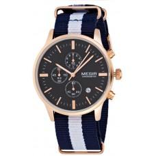 Megir Men's Black Dial Fabric Band Chronograph Watch - SL2011-D