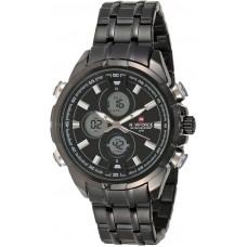 Naviforce Men's Black Dial Stainless Steel Band Watch - NF9049BBW