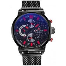 Naviforce Classic Men's Black Dial Metal Band Watch - NF9068-BBR