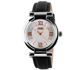 SKMEI A9075 Women Black Leather Strap Luminous Watch