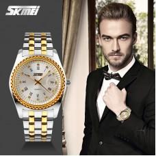 Skmei SK 007, 2@ 109 QAR Men Quartz Men Watch Full Steel Wristwatches Dive 30m Casual Watch Mujer Gold Color
