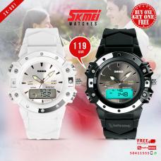 SKMEI SK 001 Unisex Sports Watch Black & White (Buy 1 Get 1 @109QAR)