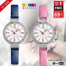 SKMEI SK 006 Luxury Quartz Watch Fashion Casual Leather Wristwatches, buy 1 get 1 @ 69 QAR