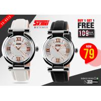 SKMEI SK 9075 Women Leather Strap Luminous Watch buy 1 get 1 free