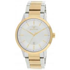 Spectrum Men's Silver Case White Dial Two tone Casual Watch - S25116M-TWT