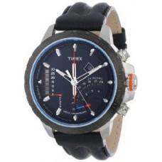 Timex Men's T2P274DH Intelligent Quartz Adventure Series Linear Indicator Chronograph Black Leather Strap Watch