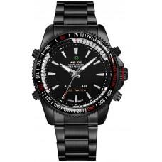 WEIDE 0903B Mens Black LED Dual Time Display Sports Watch